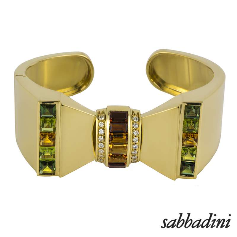 Sabbadini 18k Yellow Gold Multi Gemstone Set Bangle